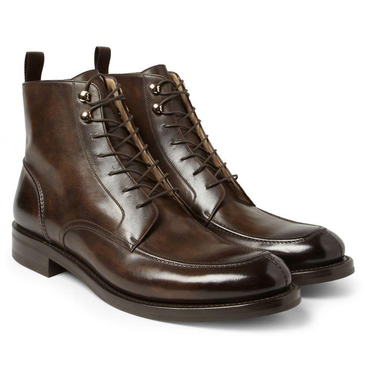 Black Leather Cap Toe Lace Up Shoes