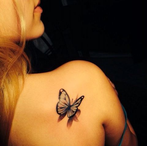 Simple 3D Butterfly Tattoo