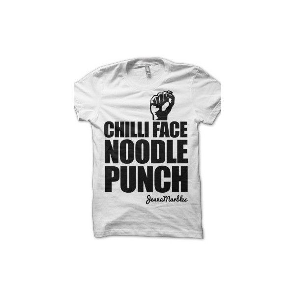 Jenna Marbles - Chilli Face Noodle Punch ... | YouTube Merch Wishlist ❤ liked on Polyvore featuring tops