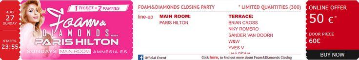 #Order your #tickets for 08.27.17 #DJ @ParisHilton's #FoamAndDiamonds #SexySunday #Party; the world's premiere #Ibiza #experience! @amnesiaibiza @billboarddance @whiteibiza #Actress #AmnesiaIbiza #Billboard #CashMoneyRecords #Dance #DJMagTop100 #DJParisHilton #EDM #ElectroHouse #Electronic #FoamAndDiamonds2017 #House #Ibiza #LittleHiltons #Model #Music #Musician #ParisHilton #PDiamond #ProgressiveHouse #Remixes #Top100DJ #TechTrance #Trance #TropicalHouse #YMCMB www.parishilton.com