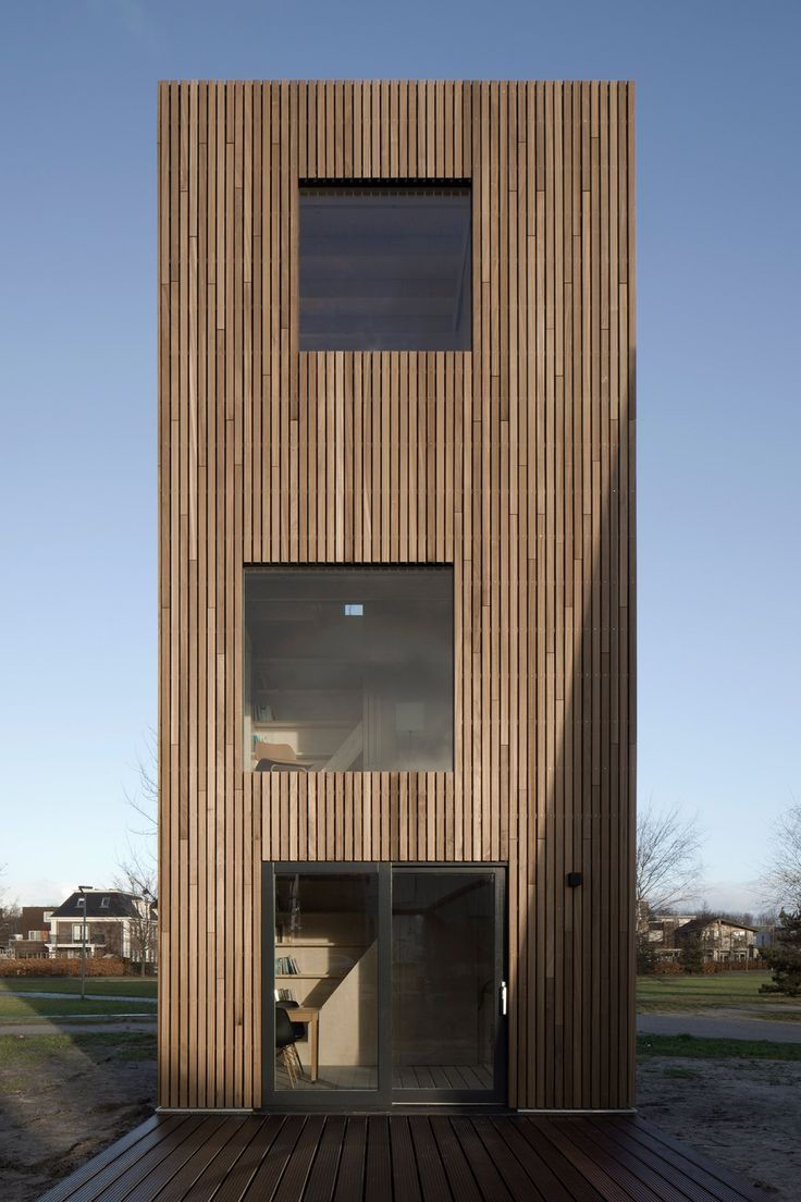 At just four metres wide Ana Rocha Architecture's wooden skinny house in Almere Poort, the Netherlands, has a frame that took only two days to build.