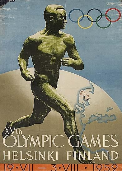 Official Poster of the 1952 Olympic Games in Helsinki, 'XVth Olympic Games, Helsinki Finland, 19.VII - 3.VIII.1952', artwork by Finnish artist Ilmari Sysimetsä showing the legendary Finnish long-distance runner Paavo Nurmi