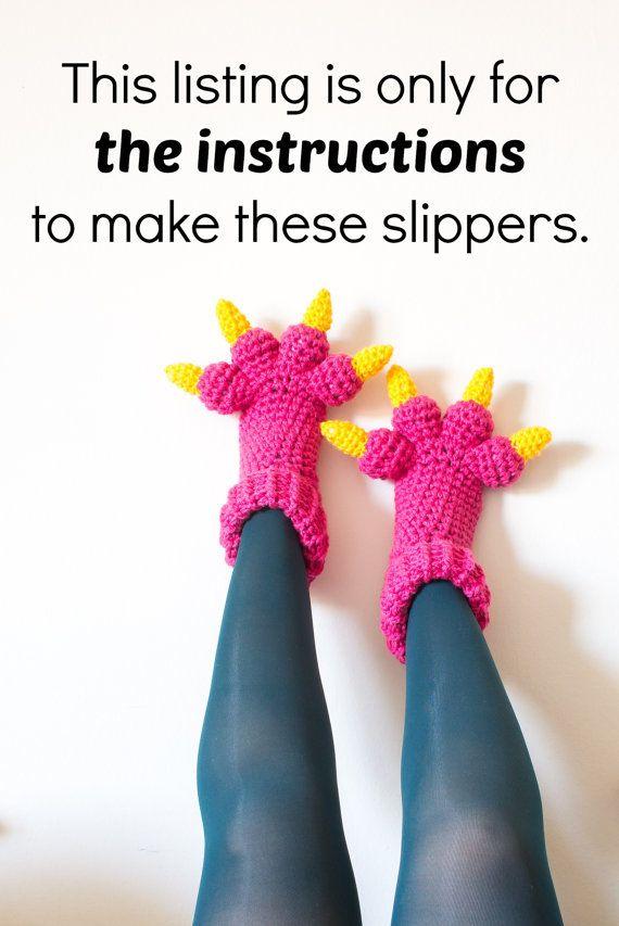 Zapatillas de ganchillo tu propio con este divertido crochet patrón de pantuflas niños y adultos zapatillas (zapatillas de mujer y zapatillas para