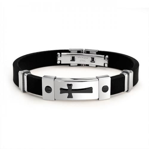 Two Tone Rubber Black Stainless Steel Mens Cross ID Bracelet 8in