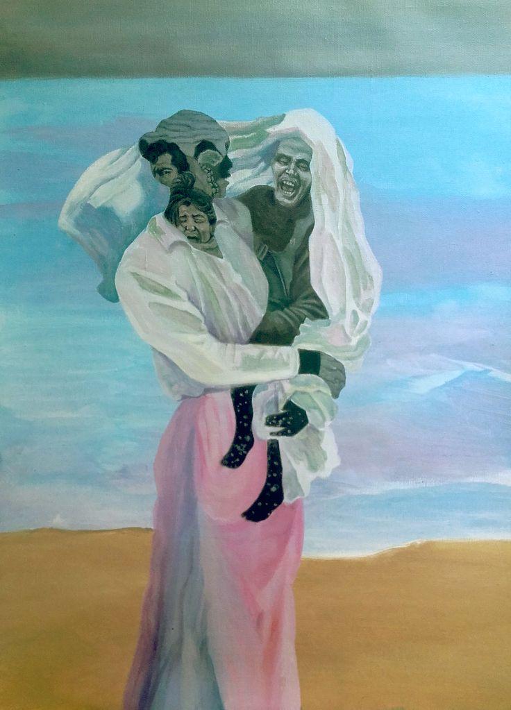 """""""Saliendo del baño"""", homenaje a Joaquín Sorolla. Acrílico sobre lienzo. (2016)"""