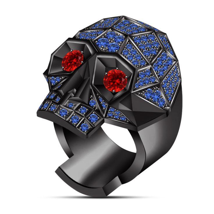 mens biker skull ring garnet diamond fancy ring in black gold over - Mens Skull Wedding Rings
