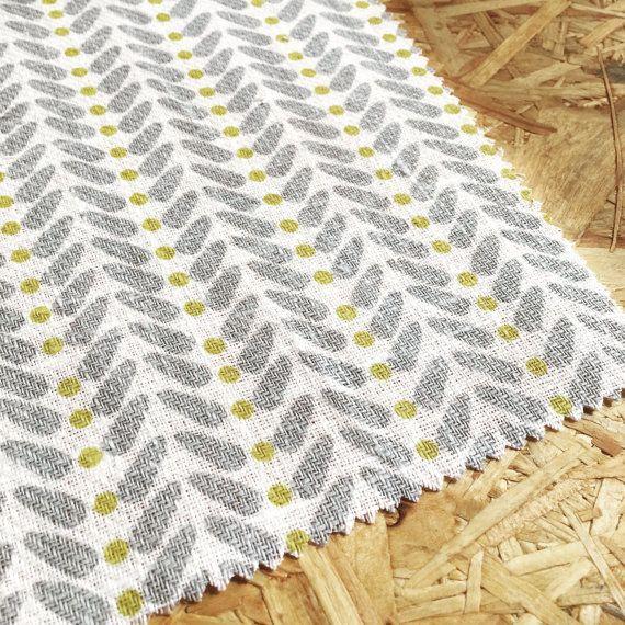 Yellow and Grey Fabric Curtain Fabric Scandinavian by WhoaBoho
