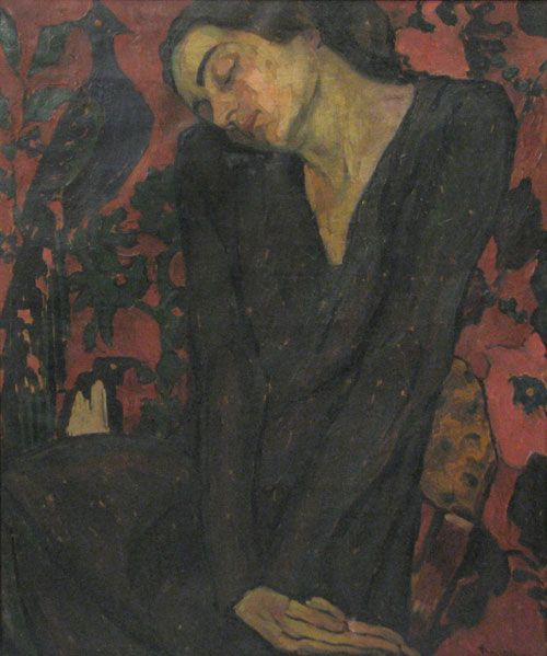 """Dreaming (c. 1920) by Ion Theodorescu-Sion (1882-1939), Romanian known for his traditionalist, primitivist, and Christian painting. He oscillated between modernity and parochialism but he had one major focus: depicting peasant life in its natural setting. He contributed to a specifically Romanian modern art of folk tradition and primitivist tendencies borrowed from the West. Later his style became neo-traditionalist, """"Romanianist"""" and neo-Byzantine (wiki) - windypoplarsroom)"""