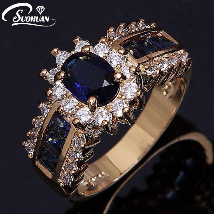 Venta al por mayor de la vendimia femenina anillo de las mujeres anillo de piedra Azul cz IP chapado en Oro CZ anillos de compromiso de diamantes