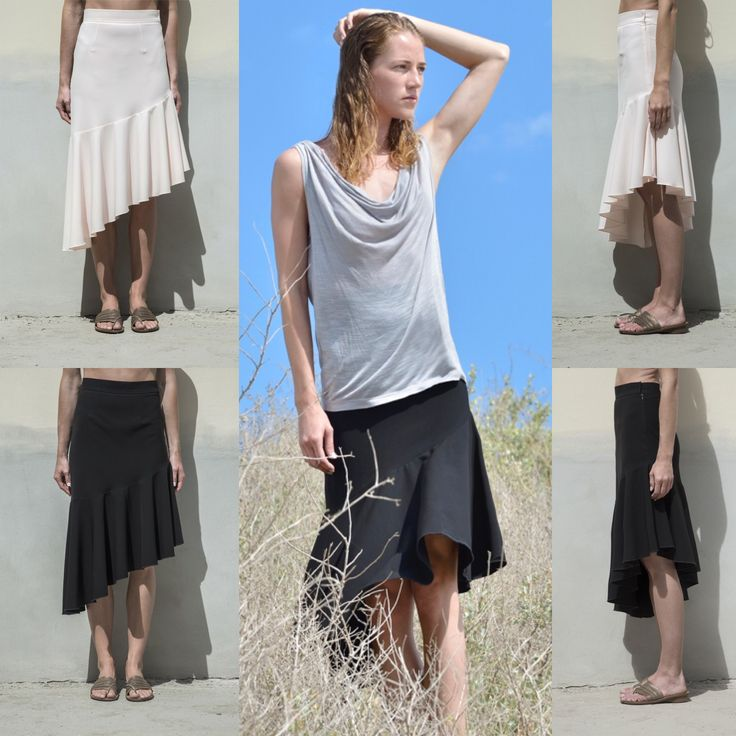 Look of the day : Draped top available in grey , white , lime and powder color Diagonal skirt black / light peach By Cristina Karekla Collection summer 2016 More on www.cristinakarekla.com