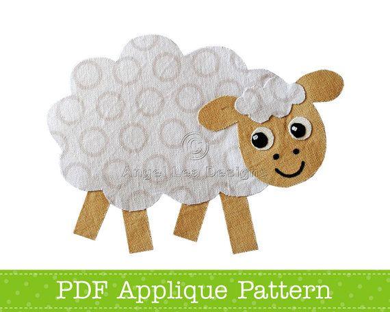 a5262b36bba18e Sheep Applique Template Farm Animal Applique par AngelLeaDesigns ...