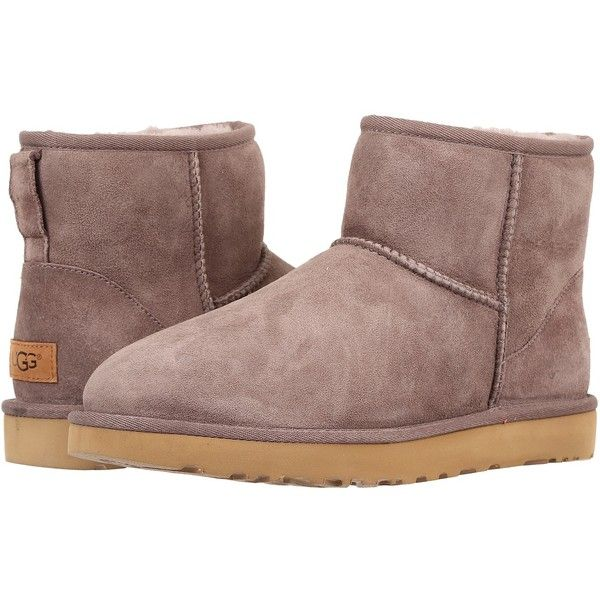 UGG Classic Mini II (Stormy Grey) Women's Boots ($140) ❤ liked on Polyvore featuring shoes, boots, ankle boots, gray short boots, fur ankle boots, faux-fur boots and low heel ankle boots