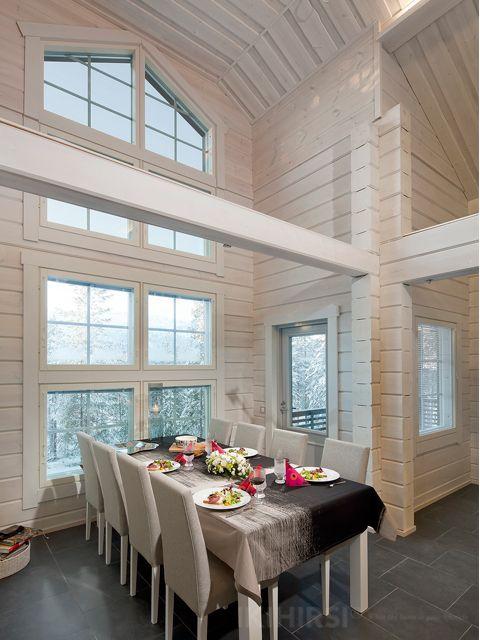 Столовая с панорамным окном. IKIHIRSI деревянные дома, 2-этажные,  Модель H2-115. Икихирси дом /строить/ Финский деревянный дом /читать дальше: http://www.ikihirsirussia.ru/modeli/modeli-family/h2-115.html