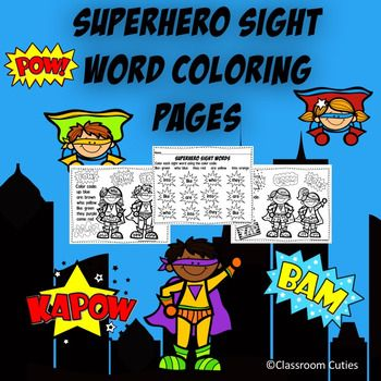 These SUPER cute and fun coloring sheets will motivate your students to learn their sight words. They will help with sight word recognition and color recognition. Also included in this set are 2 colored and 2 black and white superhero sight word certificates so that you can celebrate your students' success.IMPORTANT!!!TpT gives credits for every $ you spend ONLY after you provide feedback to the seller.