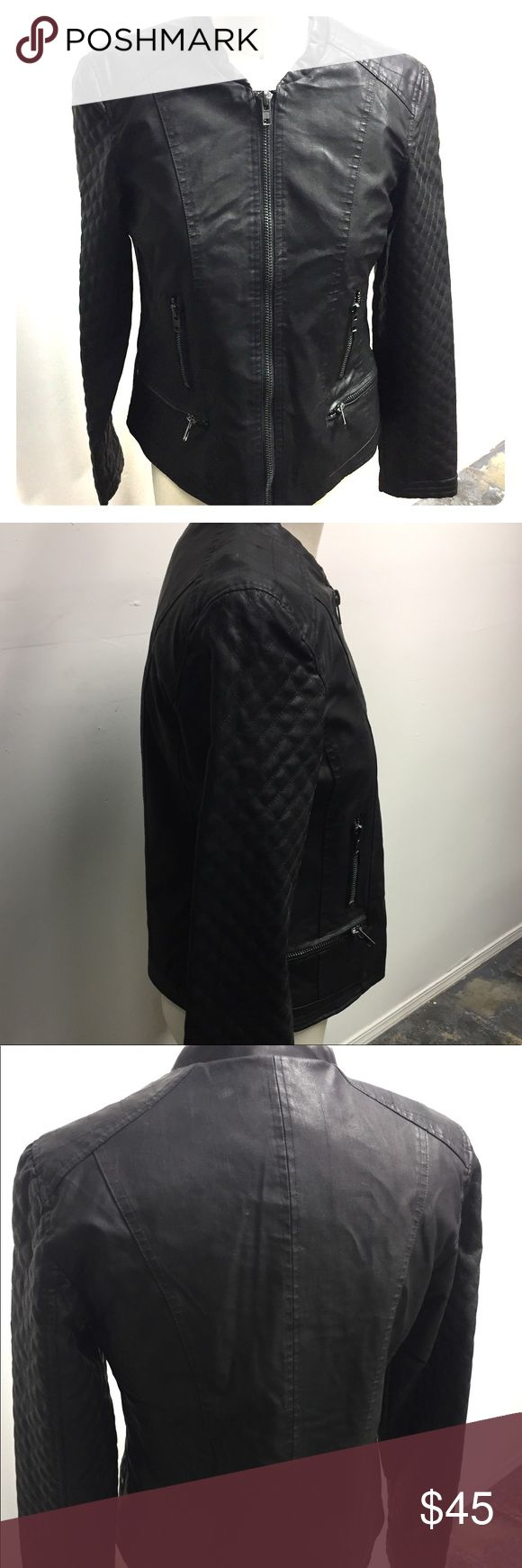 Black faux leather jacket French label  Black faux leather jacket with zip closure  Brand new Best Mountain Jackets & Coats