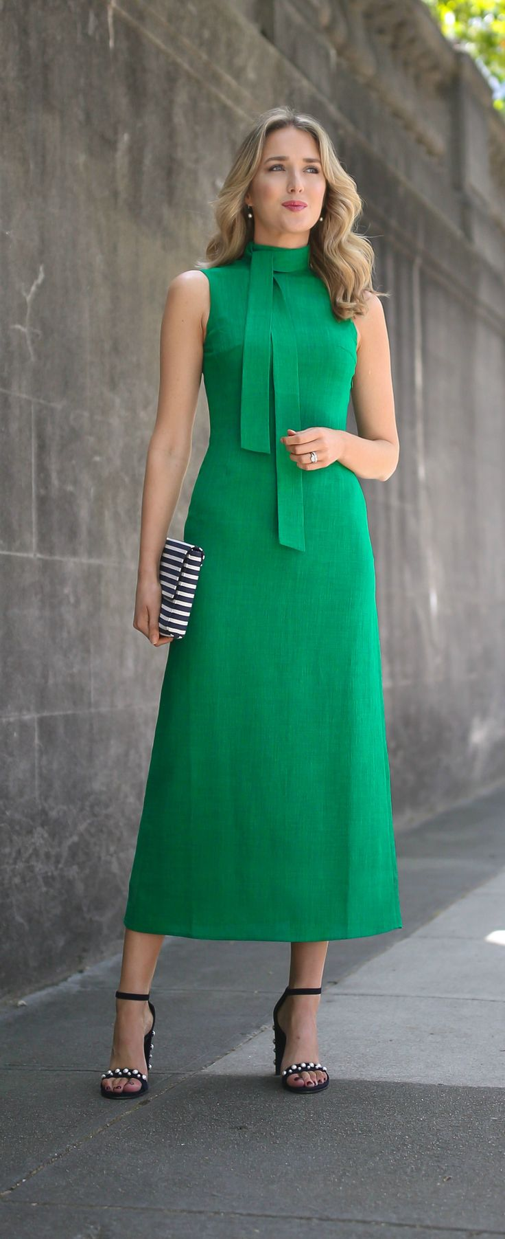 kelly green midi dress with tie neck detail, navy blue suede ankle strap sandals pearl embellished detail and block heel, navy and white striped clutch hand bag // what to wear to high tea // classic style fashion cefinn stuart weitzman morepearls