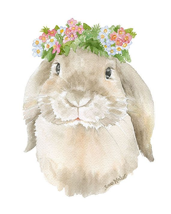 Watercolor Bunny Floral Painting Giclee Print  5 x by SusanWindsor