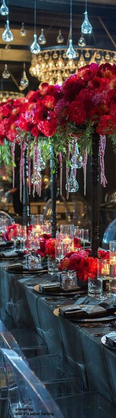 Beautiful tall red centerpieces