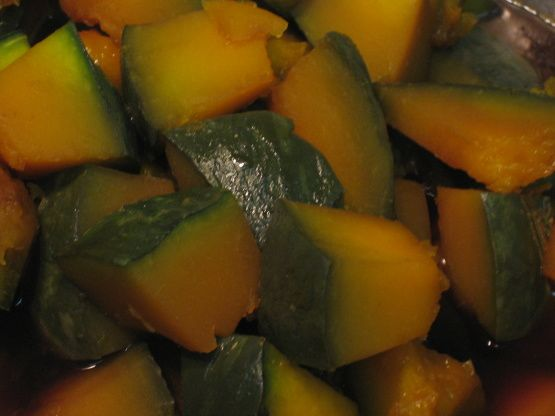 This is a Japanese style sweet and savory pumpkin recipe. Kabocha has slightly sweet taste, and it is cooked in many different ways in Japanese cuisine. For example, tempura is a popular way to cook kabocha. Cut kabocha into thin slices to make tempura. Also, simmering is a common way. Kabocha tend to keep its shape even if its simmered. This  is a great side dish to accompany a Japanese meal.