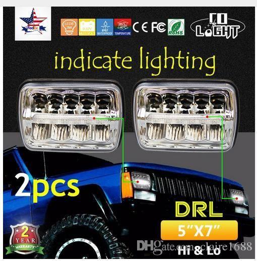 2pcs Square LED Headlight 7X6 5X7 HI-LO Beam Replacement Headlamps for Jeep Wrangler YJ Cherokee XJ trucks 4x4 - $160.99