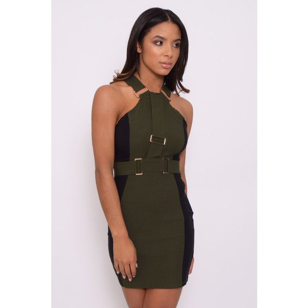 Rare London Chloe Sims Wear Khaki hardware Trim Bodycon Dress (90 CAD) ❤ liked on Polyvore featuring dresses, body conscious dress, body con dress, rare london and bodycon dress