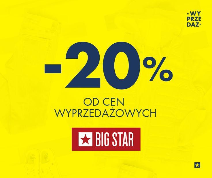 W BIG STAR wyprzedaż do -70% łączy się z promocją -20%. Od czwartku do niedzieli (30.07-02.08.2015) cały asortyment objęty wyprzedażą przeceniamy o 20%.