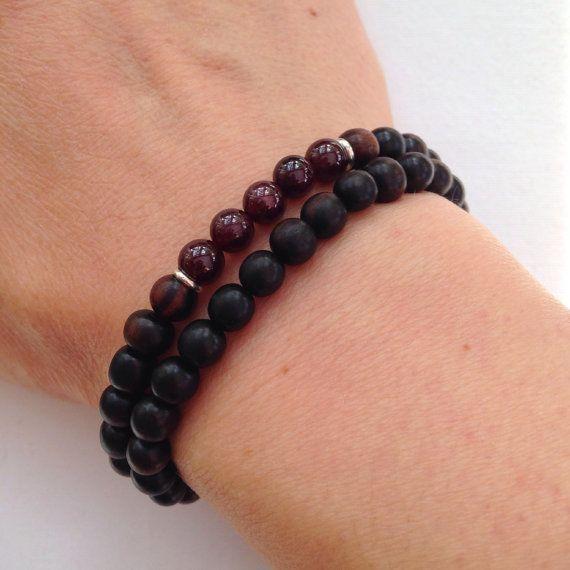 Tiger Ebony and Garnet bracelet tiger ebony bracelet by Chalso