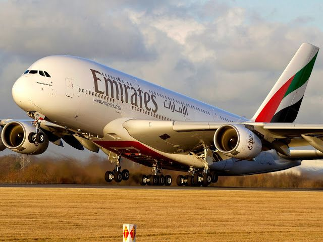 Emirates Airbus A380-800 Sunset Takeoff Aircraft Wallpaper 4021