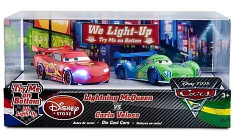Disney / Pixar CARS 2 Exclusive 148 Light Up Die Cast 2Pack Lightning McQueen vs Carla Veloso by Disney Store. $19.59. Die cast metal, Cars up to 4 1/2'' L. Age 3+. Imported. Set includes Lightning McQueen and Carla Veloso. Each car requires 3 x LR41 button cell batteries, included. Brand New Item from trusted seller. No sticker remnant on package, highly giftable. NO HASSLE and NO-QUESTIONS ASKED Returns for your purchase.