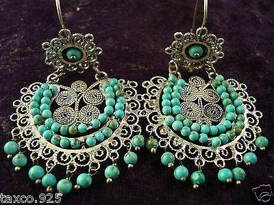 TAXCO-MEXICAN-STERLING-SILVER-BEADED-BEAD-TURQUOISE-FILIGREE-EARRINGS-MEXICO