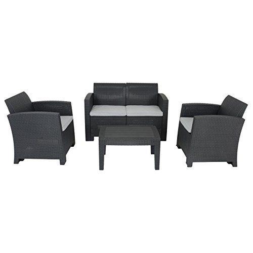 Azuma Black Rattan Garden Sofa Set 2 Seater Valencia Couch 2