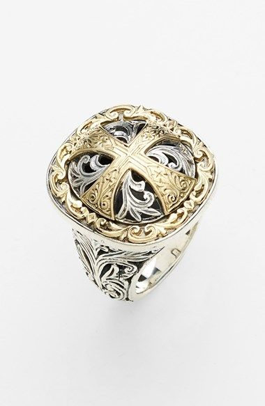 Free shipping and returns on Konstantino 'Classics' Cross Two-Tone Ring at Nordstrom.com. Silver scrollwork surrounds the gold Maltese-cross centerpiece of a comfortably tapered ring.