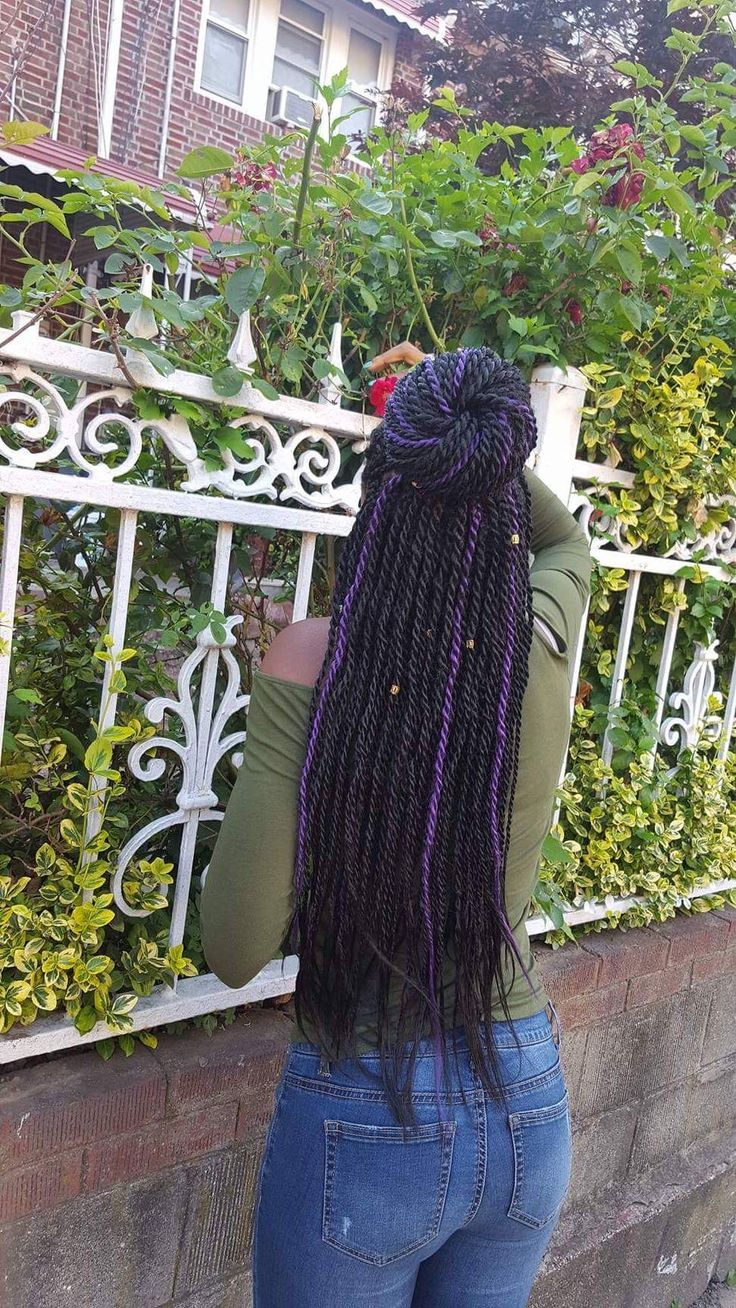 Black with purple highlights Senegalese twists❤️