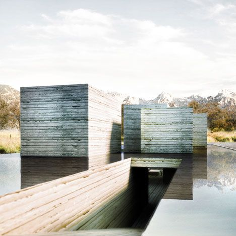 Shanghai architectsPolifactoryhave developed a concept for arammed earth house thatgenerates energy from a lake on its roof.