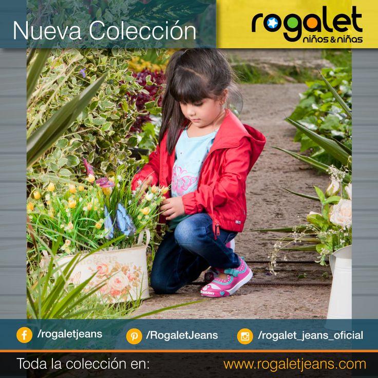 Chaqueta roja para niña, Jean azul para niña Blusa verde para niña   www.rogaletjeans.com