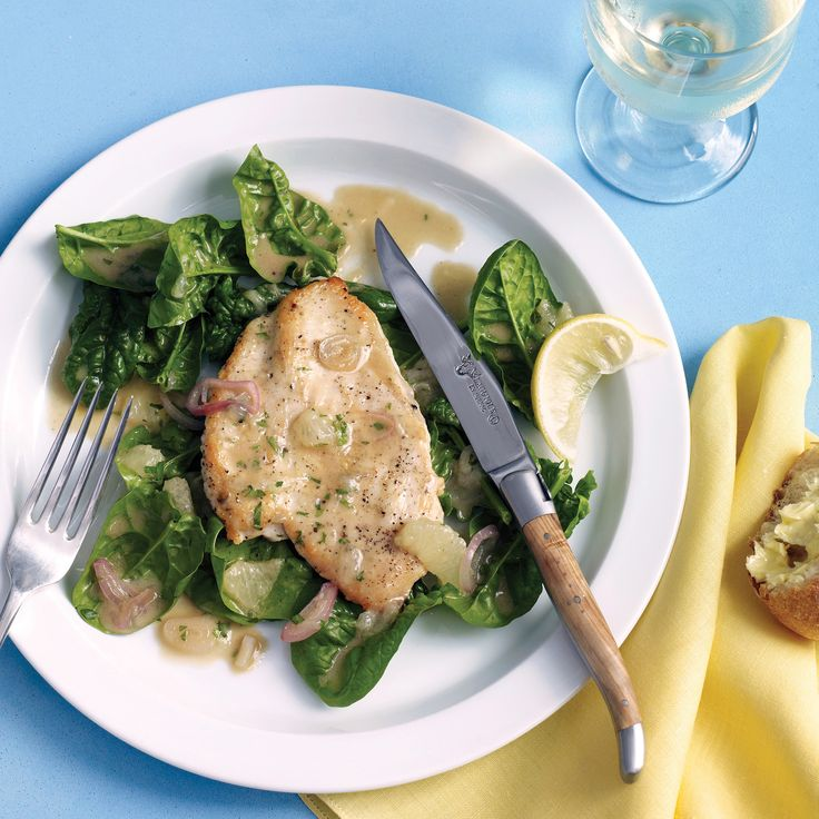 Before making this dish, read our handy instructions on how to make chicken paillards. Lemon segments give this dish great flavor. To segment the fruit, cut away all the peel and white pith. Then slice along the membranes. Serve the chicken and sauce over fresh spinach.