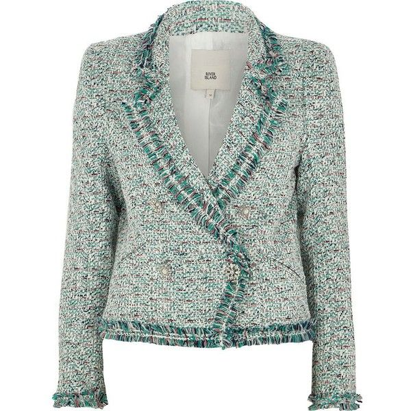 coupon codes 50% off arriving River Island Green boucle double-breasted trophy jacket ($150 ...