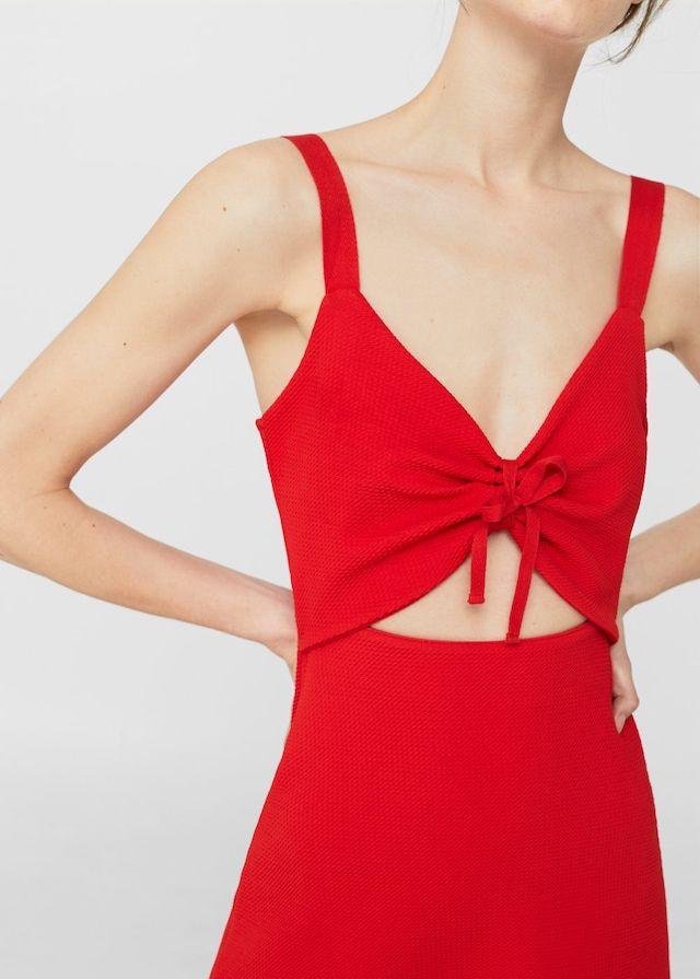 Bow cut-out detail dress