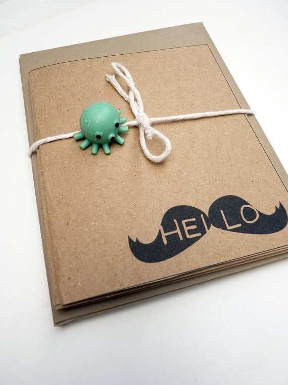 Hello Moustache - Mustache Greeting Cards by Buttonlandia on Etsy $14.00 PDX Etsy