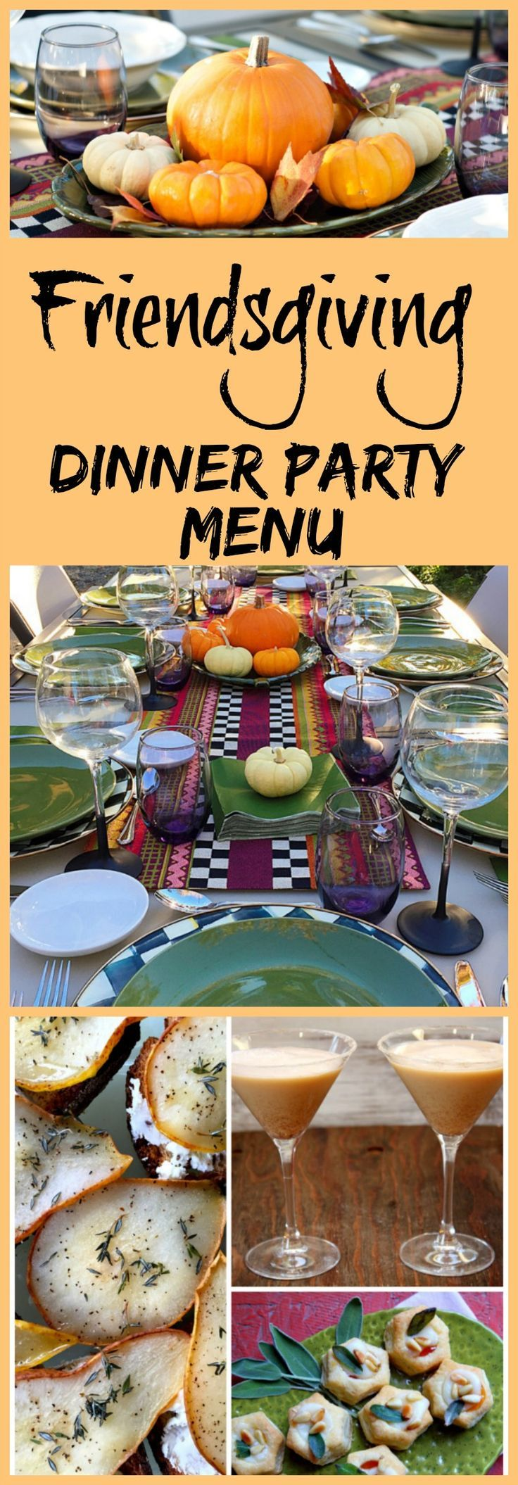 How to Host a Friendsgiving Dinner Party.  Recipes, decor/tablescape ideas, and easy entertaining tips included for a fun fall dinner party with friends.  Friendsgiving Dinner Party Menu (Halloween Appetizers For Party)