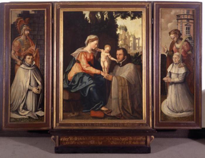 Ян ван Скорел (Jan van Scorel) (1495 - 1562) — Drieluik van de familie De Visscher van der Gheer 1555 - 1570 (ок. 1555 (средняя часть); ок. 1570 (боковые) Centraal Museum, Utrecht, Netherlands)  при участии Jan Deys Geritsz