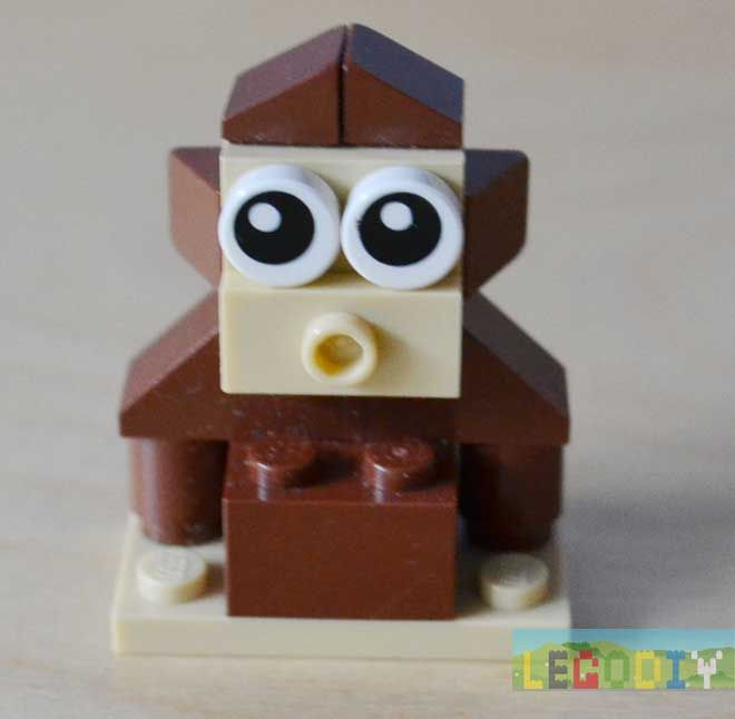 Simple LEGO monkey from standart insrtuction: You need next bricks: Some simple steps: Result: Related posts:LEGO robotLEGO ElephantLEGO SantaLEGO Pig