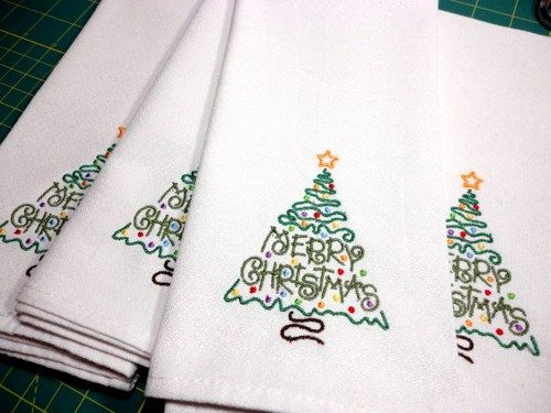 Merry Christmas Tree Cloth 4 Napkins Embroidered White Holiday Dinner | PinkCloudsAndBabyBlue - Housewares on ArtFire