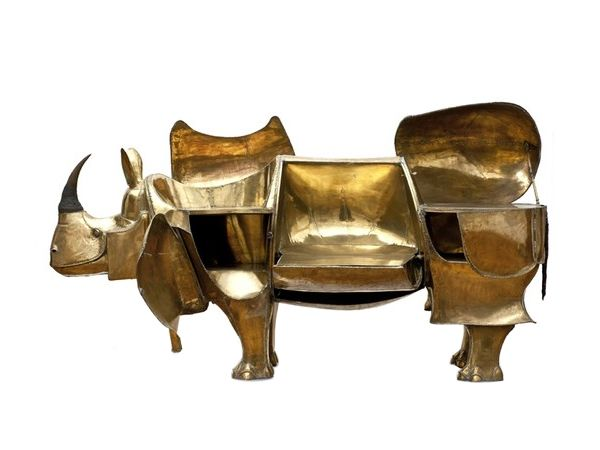 Large Rhino Shaped, brass metal desk, ca. 1967, designed and built by french artist and designer François-Xavier Lalanne. #desk #french #lalanne #rhino #metalfurniture #furniture: