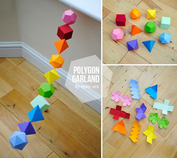 DIY Colorful Geometric platonic solids Garland