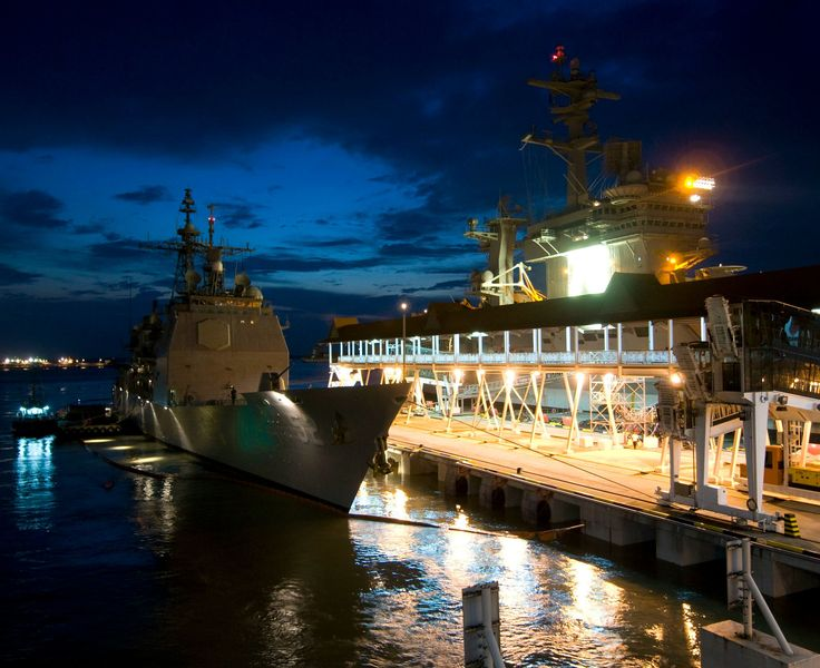 "USS Bunker Hill CG-52 & USS Carl Vinson CVN-70 Port Klang, Malaysia January 24, 2011 - 8 x 10"" Photograph"