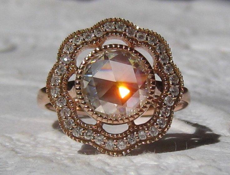 8mm Rose Cut Moissanite Poppy Engagement Ring with Rose Gold Milgrain Bezel, Moissanite Engagement Ring by JuliaBJewelry on Etsy https://www.etsy.com/listing/184421340/8mm-rose-cut-moissanite-poppy-engagement
