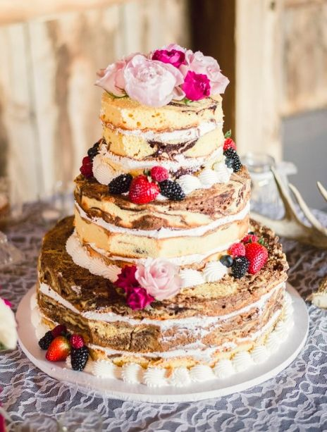 Naked Marble Wedding Cake I Like This Better Than