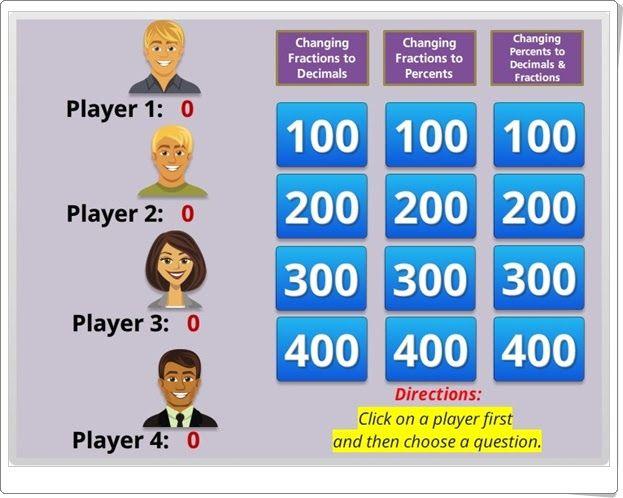 """""""Jeopardy de fracciones, números decimales y porcentajes"""""""