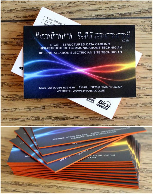 As 31 melhores imagens em duplex and triplex business cards no digitally printed on 350grm arco both sides and edge coloured in florescent burnt orange the florescent orange edge colouring on these business cards works reheart Image collections